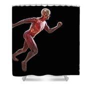 Running Male Figure Shower Curtain