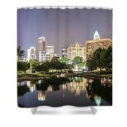Skyline Of Uptown Charlotte North Carolina At Night Shower Curtain