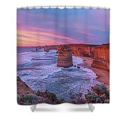 12 Apostles At Sunset Pano Shower Curtain