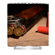 12 Gauge Over And Under Shotgun Shower Curtain