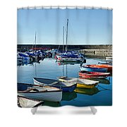 Lyme Regis Harbour Shower Curtain