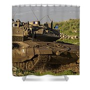 An Israel Defense Force Merkava Mark Iv Shower Curtain