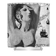 Ancient Cyprus Map And Aphrodite Shower Curtain