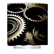 Cogs Shower Curtain by Les Cunliffe