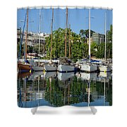Reflections In Mikrolimano Port Shower Curtain