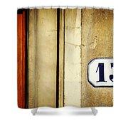 13 With Wooden Door Shower Curtain