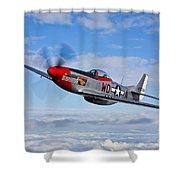 A P-51d Mustang In Flight Shower Curtain