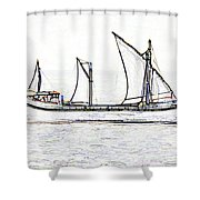 Fishing Vessel In The Arabian Sea Shower Curtain