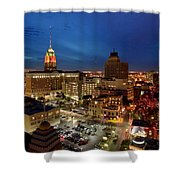 High Angle View Of Buildings Lit Shower Curtain