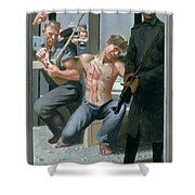 14. Jesus Is Nailed To The Cross / From The Passion Of Christ - A Gay Vision Shower Curtain
