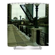 Kinzie Street Bridge Shower Curtain