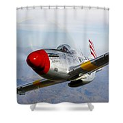 A P-51d Mustang In Flight Shower Curtain