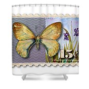 15 Cent Butterfly Stamp Shower Curtain