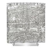1576 Zurich Switzerland Map Shower Curtain