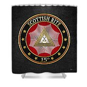 15th Degree - Knight Of The East Jewel On Black Leather Shower Curtain