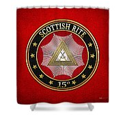 15th Degree - Knight Of The East Jewel On Red Leather Shower Curtain