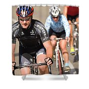 Cyclists Climb A Hill With A Mountain Shower Curtain