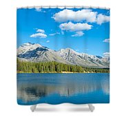 Lake With Mountains In The Background Shower Curtain