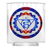 16 Lotus Petals Vishuddha Abstract Chakra Art By Omaste Witkowsk Shower Curtain