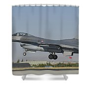 Turkish Air Force F-16 During Exercise Shower Curtain