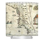 1635 Blaeu Map Of New England And New York Shower Curtain by Paul Fearn