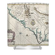 1676 John Speed Map Of Carolina Shower Curtain by Paul Fearn