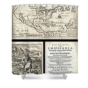 1688 Hennepin First Book And Map Of North America Shower Curtain
