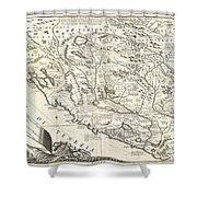 1690 Coronelli Map Of Montenegro Shower Curtain