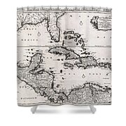 1696 Danckerts Map Of Florida The West Indies And The Caribbean Shower Curtain