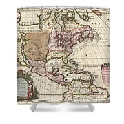1698 Louis Hennepin Map Of North America Shower Curtain by Paul Fearn