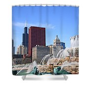Chicago Skyline And Buckingham Fountain Shower Curtain