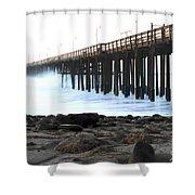 Ocean Wave Storm Pier Shower Curtain