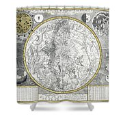 1700 Celestial Planisphere Shower Curtain