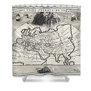 1700 Cellarius Map Of Asia Europe And Africa According To Strabo Shower Curtain