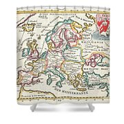 1706 De La Feuille Map Of Europe Shower Curtain