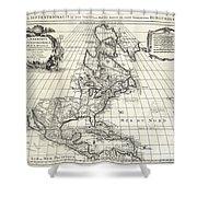 1708 De Lisle Map Of North America Shower Curtain