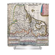 1710 De La Feuille Map Of The Netherlands Belgium And Luxembourg  Shower Curtain