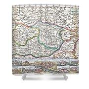 1710 De La Feuille Map Of Transylvania  Moldova Shower Curtain