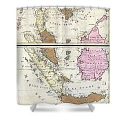 1710 Ottens Map Of Southeast Asia Singapore Thailand Siam Malaysia Sumatra Borneo Shower Curtain