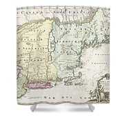 1716 Homann Map Of New England Shower Curtain