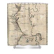 1730 Van Verden Map Of The Caspian Sea Shower Curtain