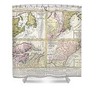 1737 Homann Heirs Map Of New England Georgia And Carolina And Virginia And Maryland Shower Curtain