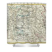 1740 Zatta Map Of Central France And The Vicinity Of Paris  Shower Curtain