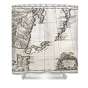 1750 Bellin Map Of The Kuril Islands Shower Curtain