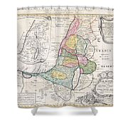 1750 Homann Heirs Map Of Israel  Palestine Holy Land  Shower Curtain