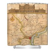 1752  Scull  Heap Map Of Philadelphia And Environs Shower Curtain