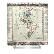 1760 Desnos And De La Tour Map Of North America And South America Shower Curtain