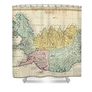 1761 Homann Heirs Map Of Iceland Shower Curtain