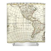 1762 Janvier Map Of North America And South America  Shower Curtain
