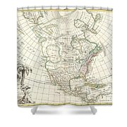 1762 Janvier Map Of North America  Shower Curtain